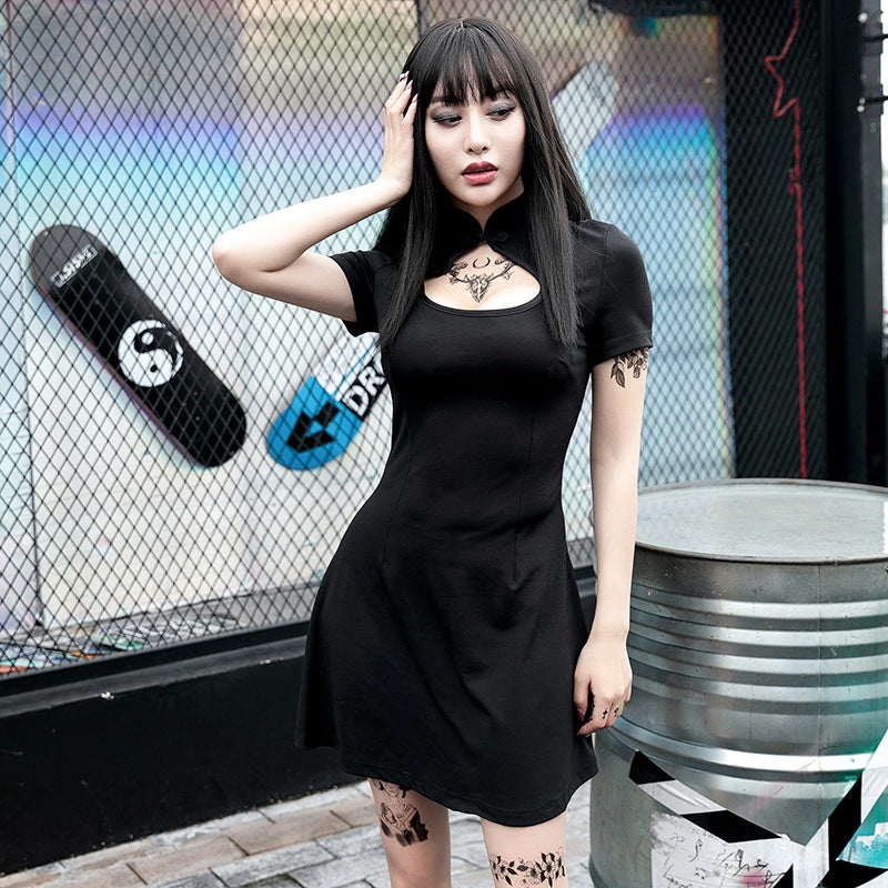 Gothic dark Chinese style cheongsam hollow-out dress
