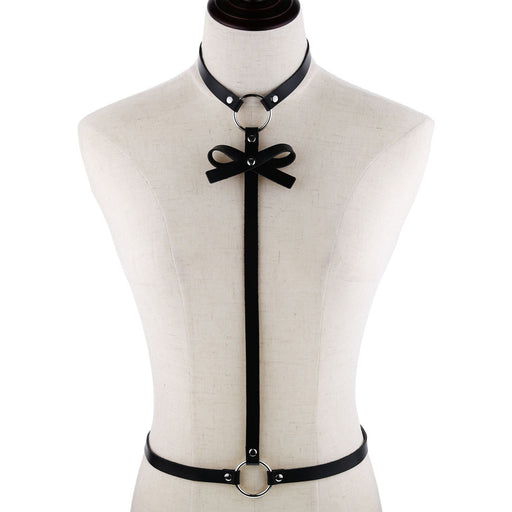 Punk style simple sexy top bondage chest with bow tie body harness harness handmade strap belt