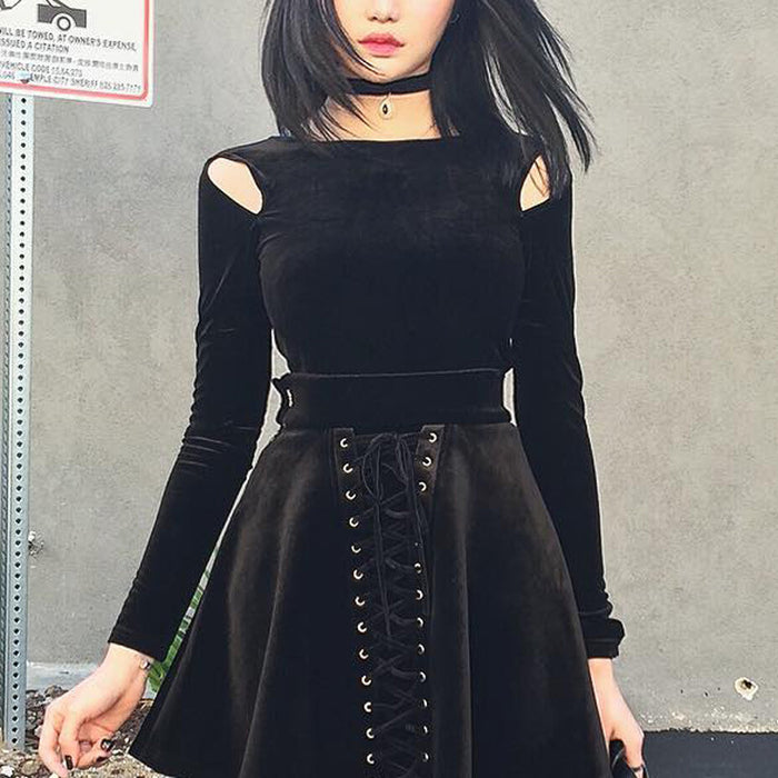 Gothic street suede hollow out round collar long sleeve bottom shirt