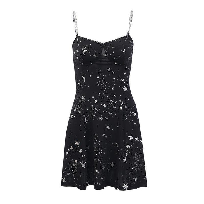 Gothic lolita fashionable star print chain dress with lace lace