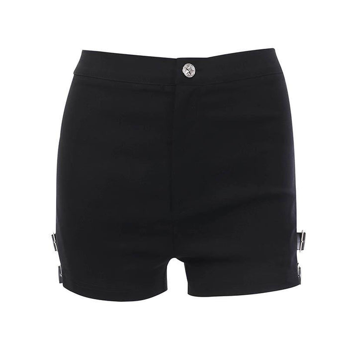 Summer gothic retro tight stretch hollowed-out metal buckle shorts