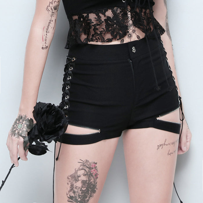 Gothic high-waisted side corns with metal trim zipper women's shorts