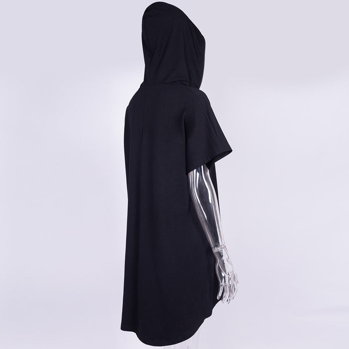 Gothic diablo punk women's hoodie with short sleeves