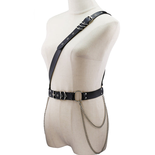 Punk Gothic PU Leather Chain Belt Hip Hop Fashion Adjustable Belt Strap Belt