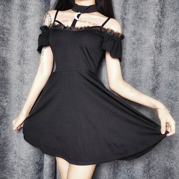 Gothic lolita Diablo harajuku girl's sexy lace strapless black strapless dress with an open-shouldered neck zip