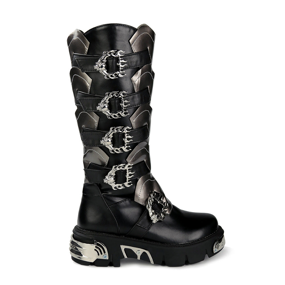 Gothic Punk Chain Leather PU Boot