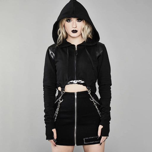 Gothic Dark wind irregular zipper exposed navel hooded sweater