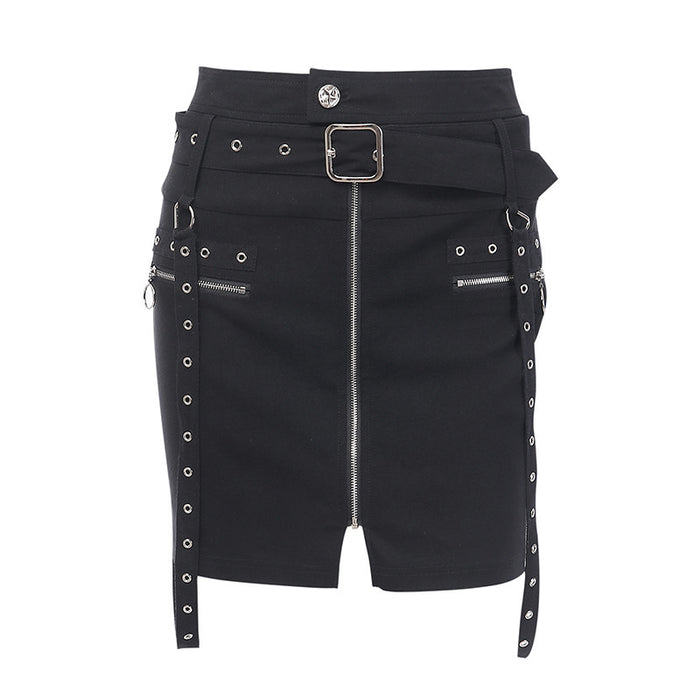 Gothic punk denim stretch wrap women's skirt