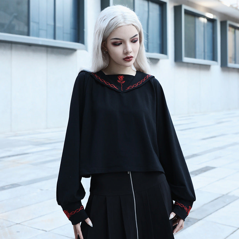 Gothic dark preppy sailor long - sleeved T-shirt