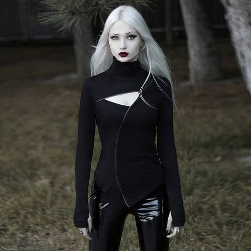 Diablo gothic long-sleeved turtleneck blouse