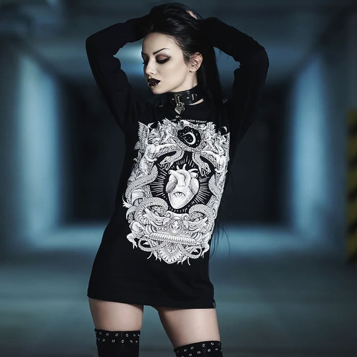 Gothic lolita dark women's round neck long sleeve T-shirt