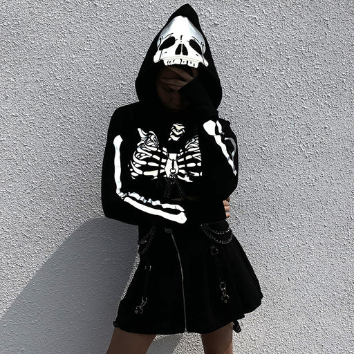 Gothic skull reflective hoodie