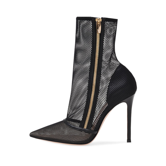 Gothic Punk Black hollowed-out mesh zippered ankle boots