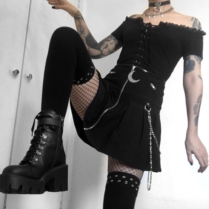 Gothic lolita punk motorcycle rock heavy metal pleated skirt