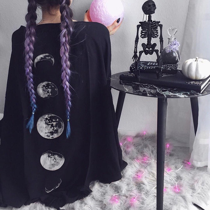Gothic lolita moon print black v-neck loose bat cape