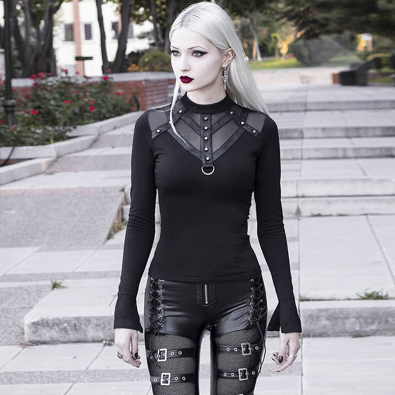 Gothic women's weariness goes with long-sleeved t-shirts