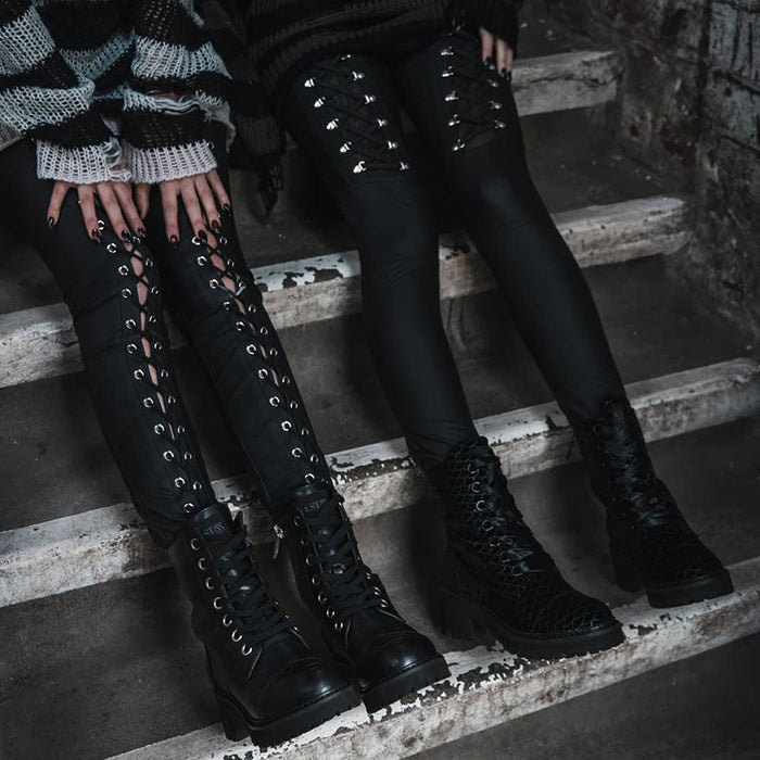 Gothic dark sexy little feet, high waist and tight over leggings