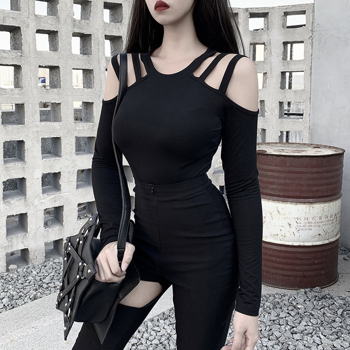 Gothic punk off-the-shoulder girl long sleeve T-shirt