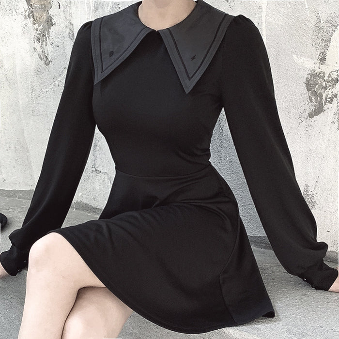 Gothic nun long-sleeved high-waisted navy-collar dress