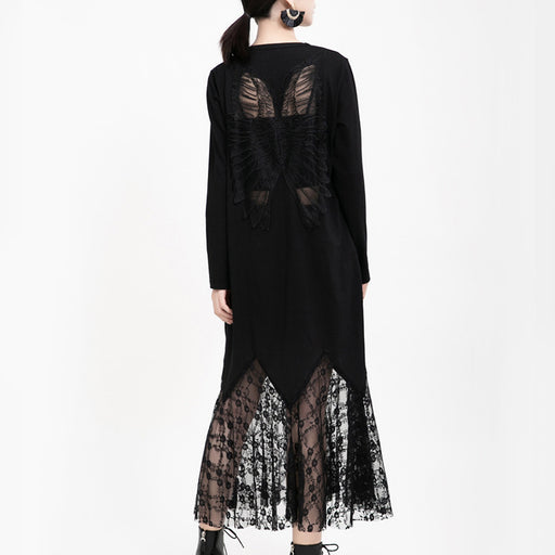 Hollow angel wings lace fishtail dress