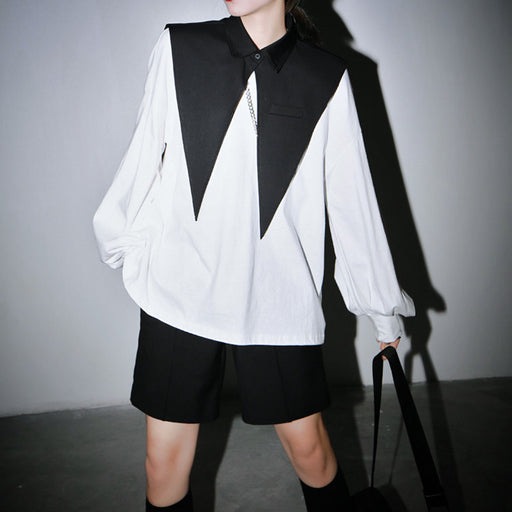Long sleeve stand collar hem pleated shirt
