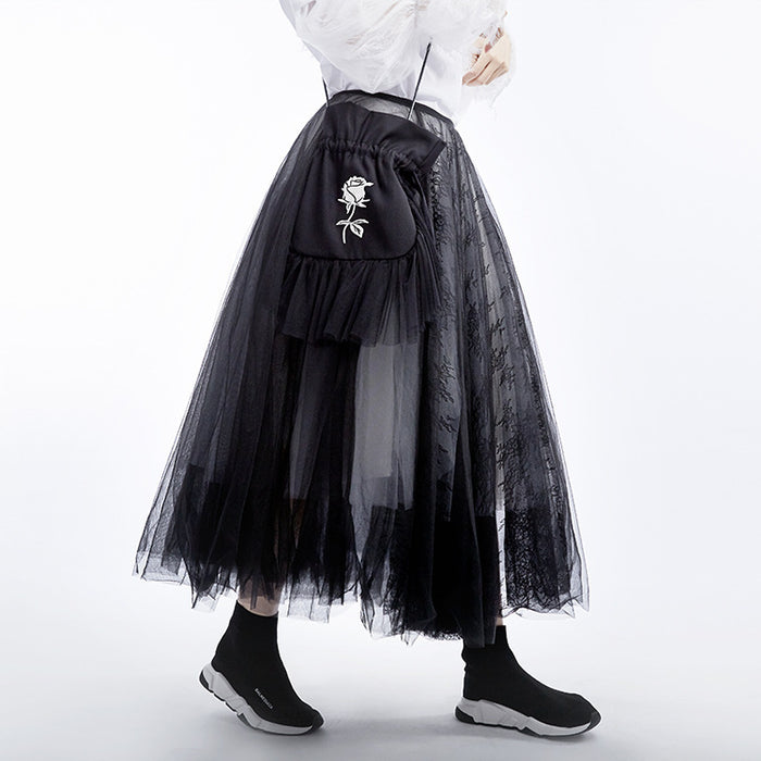 Dark high waist lace five-layer black and white mesh skirt puffy skirt