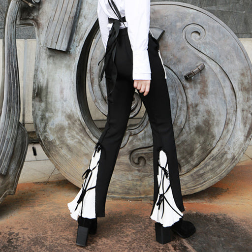 Ancient palace style bow tie strap casual flared pants