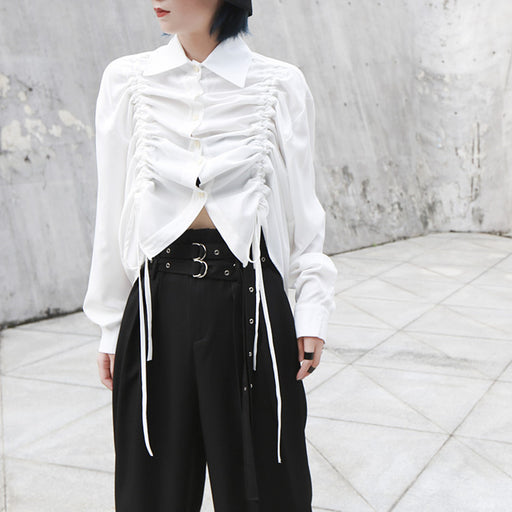 French dark wind drawstring pleated loose long sleeve shirt