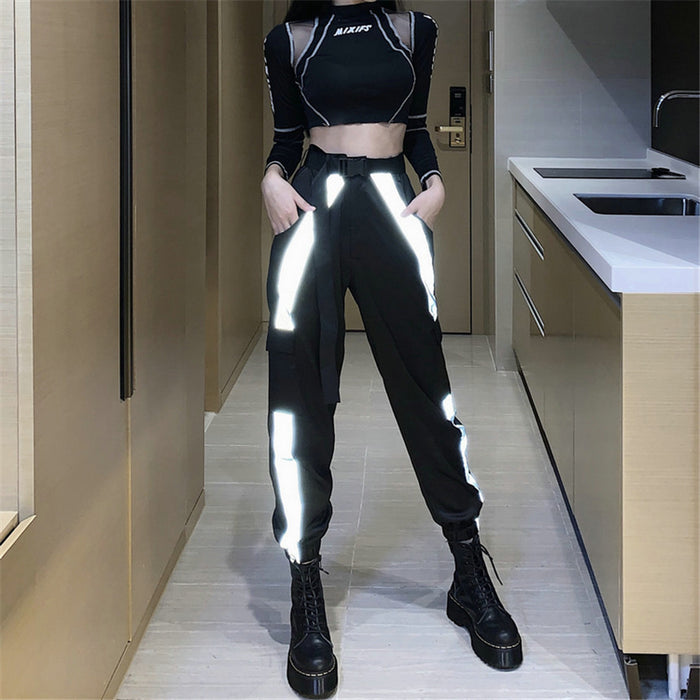 Alternative Street hip-hop hip-hop sports loose-fitting color matching reflective overalls Pant
