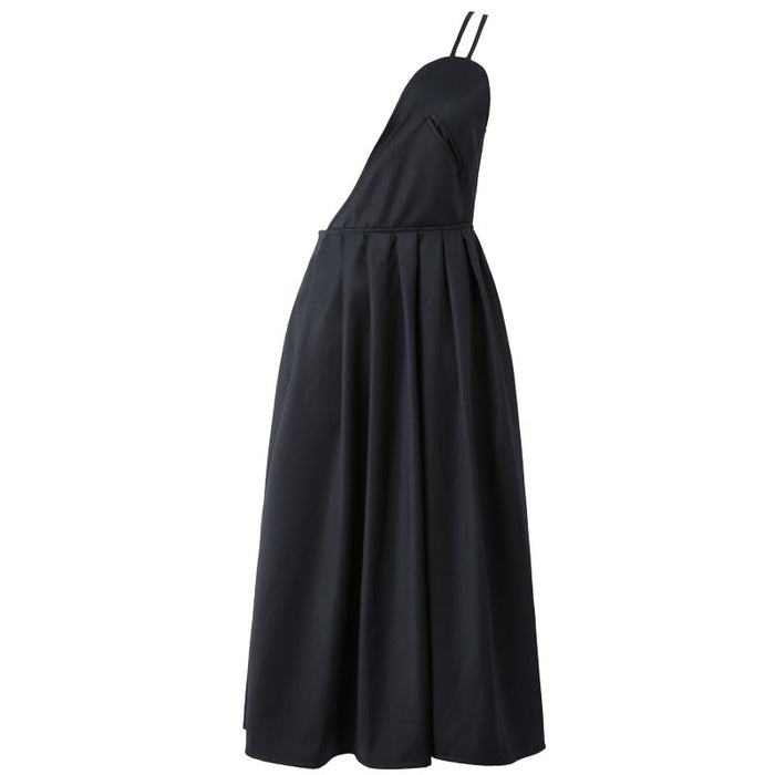 Dark cold romantic half arc half shoulder strap dress