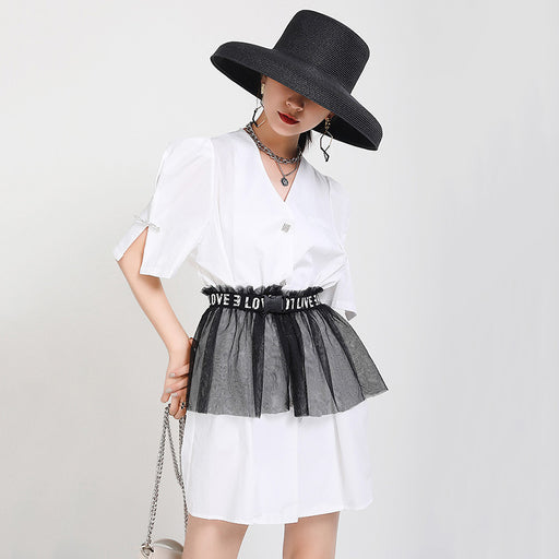 Gothic Lolita solid color thin V-neck shirt dress with belt