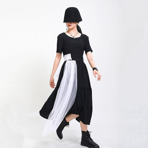 Gothic halter bow contrast color patchwork skirt two-piece skirt