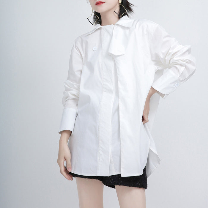 Punk solid color all-match irregular shirt