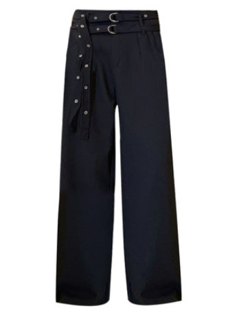 Punk style double belt wide leg slacks Pant