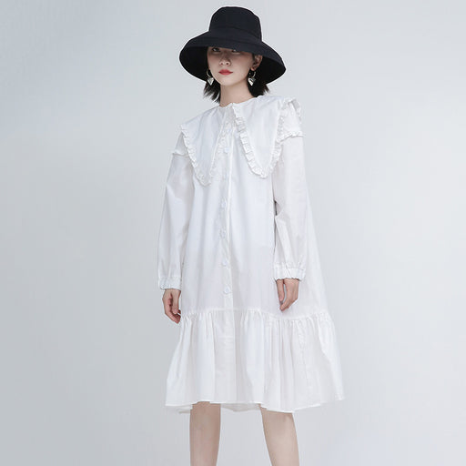 Alternative mid-length ruffle collar shirt dress