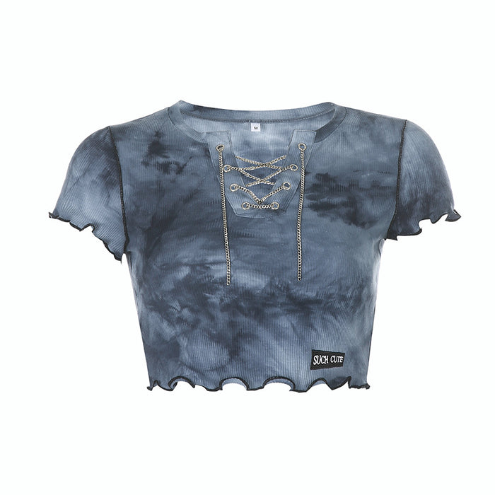 Slim slim T-shirt with chain tie-dyed wood ears