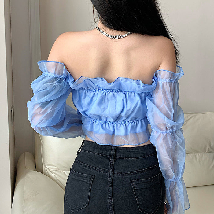 One-shoulder see-through mesh sleeve crop top