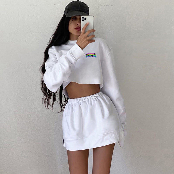 Gothic Sweet Fashion Casual Rainbow Letter Long Sleeve Crop Top Skirt Set