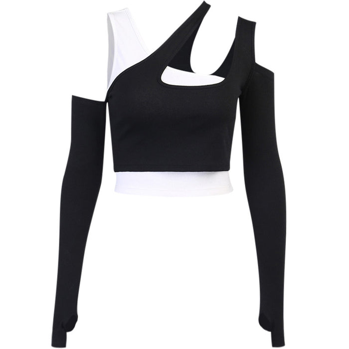 Alternative Contrasting Color Two-Piece Navel Bare Sleeve Belt Vest