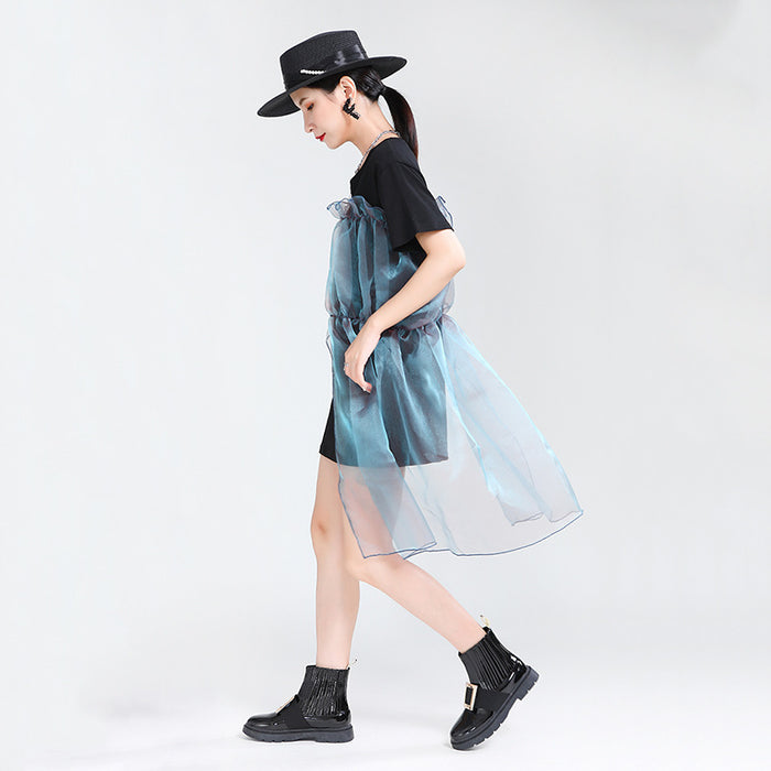 Gothic Sweet super fairy thin mermaid Ji color organza stitching T dress