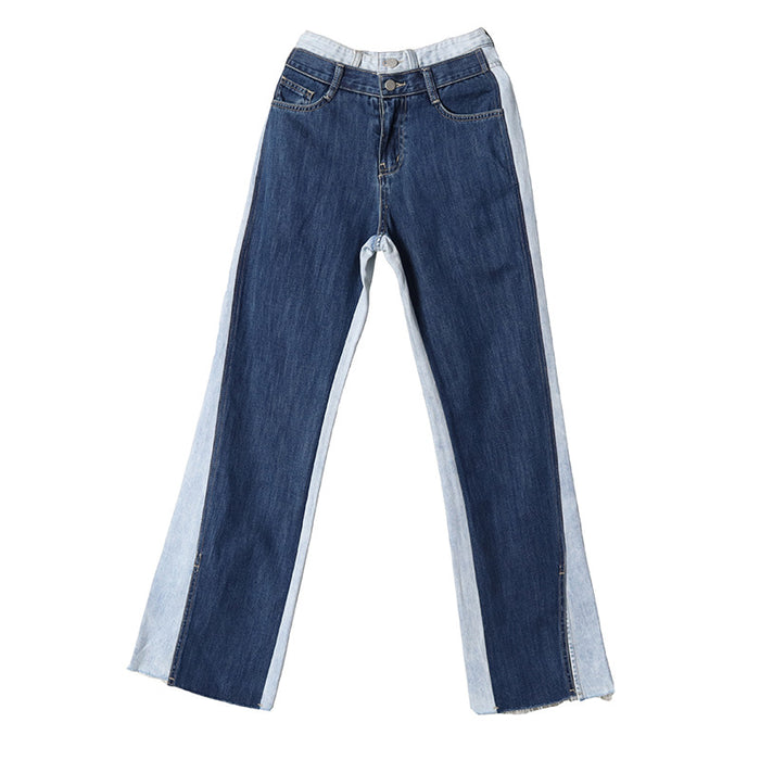 Gothic Sweet two-tone stitching split straight-leg jeans