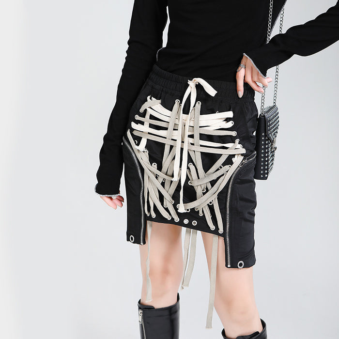 Dark three-dimensional pocket multi-layer contrast color irregular drawstring skirt