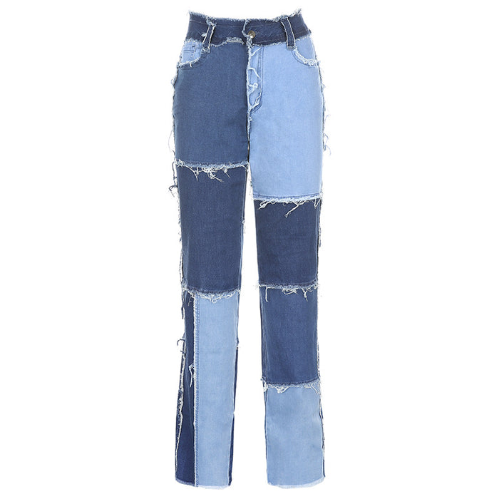 Sweet high-waisted color matching slim slim straight-leg jeans