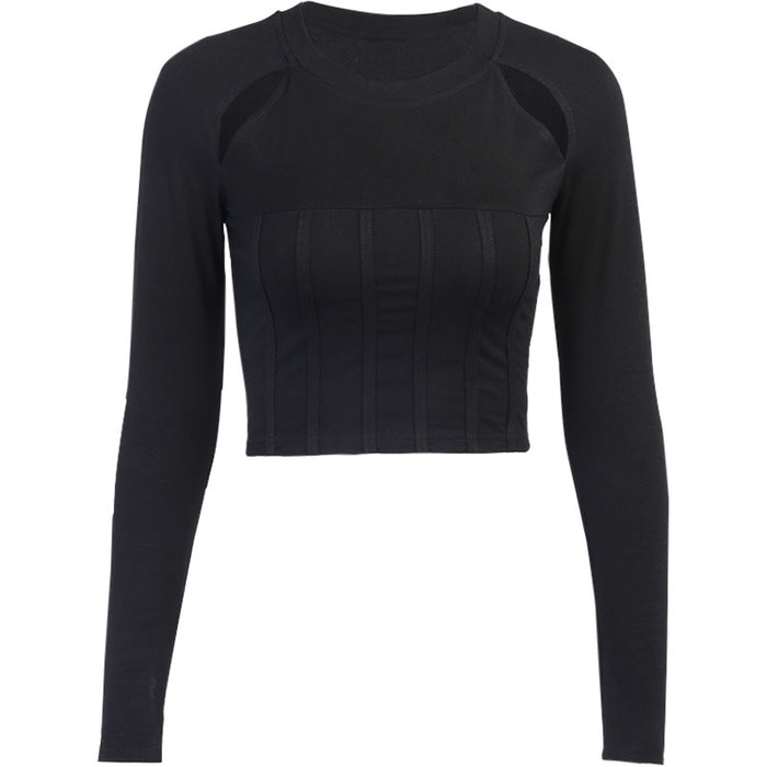 Punk black short cropped sexy tight-fitting long-sleeved T-shirt