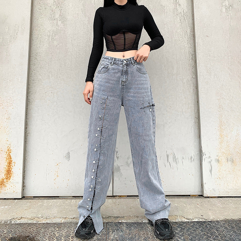Personality split pin feature straight jeans