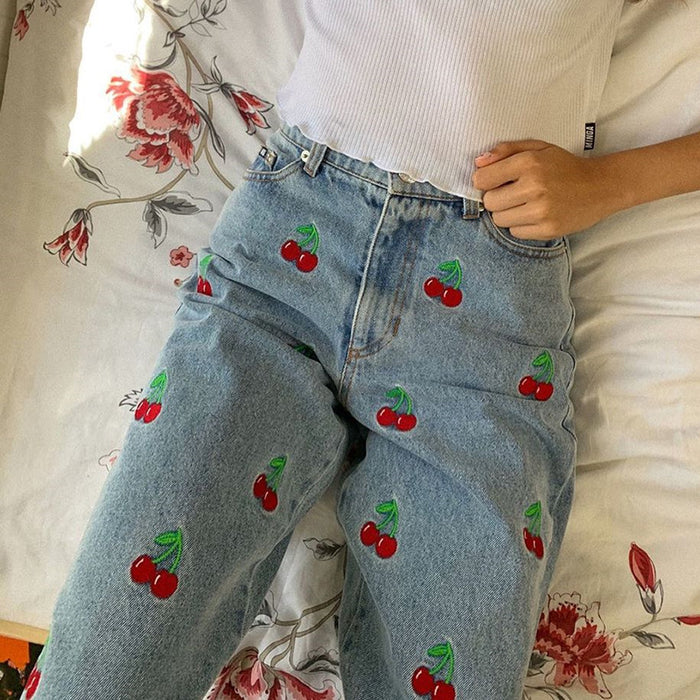 Cherry embroidered leg length high waist pencil pants