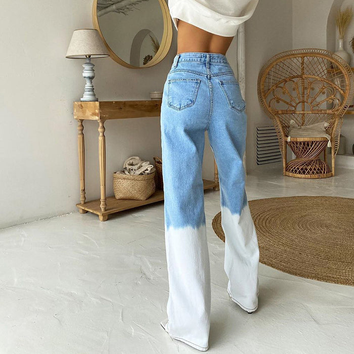 Tie-dye stitching high-waisted and slim-height street denim wide-leg pants