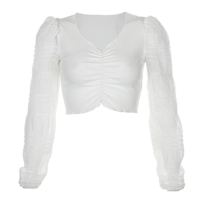 Stitching V-neck pleated sexy long-sleeved crop top