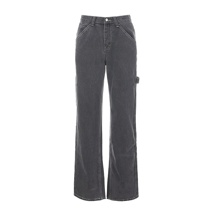 Gray casual stitching high-rise jeans