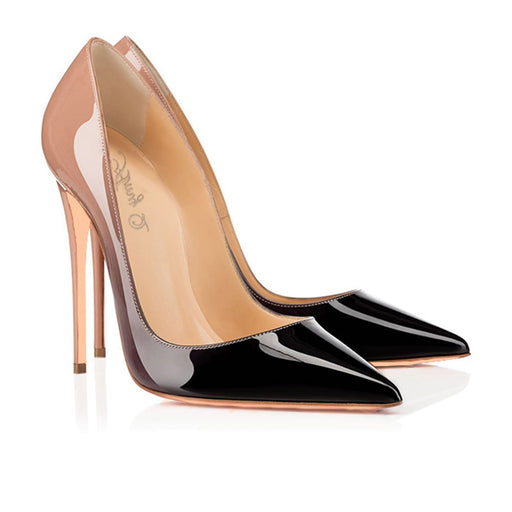 Gothic Tapered patent leather heels in a gradient of color